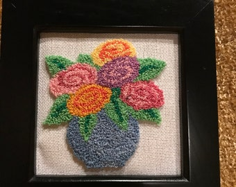 Flower Pot Completed Framed Punch Needle Picture