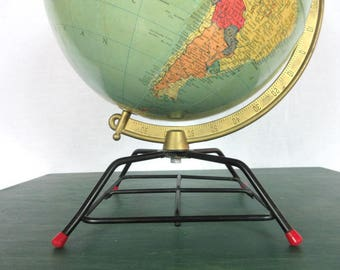 "Vintage Globe / 1950s 10"" Repogle / Reference / Brass Axis / Gustav Brueckmann Cartographer"