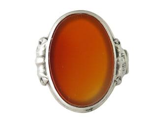 Continental Silver Carnelian Men's Ring