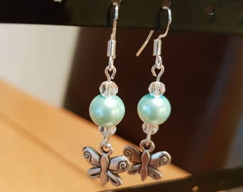 Blue butterfly dangle earrings