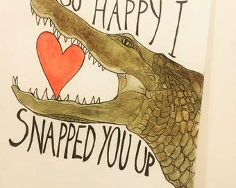 Snappy crocodile valentines card