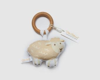 Organic Sheep Rattle - Sheep Toy - Baby Rattle / Baby Gift / Natural Wood Rattle / Wood Toy / Baby Toy / Baby Shower Gift / Montessori