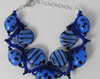 Blue Dots and Stripes Bracelet