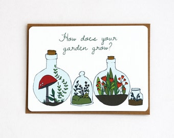 Terrarium Garden Notecards in Green, Brown, Red, Coral, Gray and Light Blue - Set of 3, 6 or 10 Flat Notecards and Kraft Envelopes