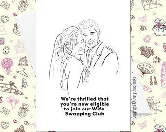Wife Swapping Club / Adult Humour Card / Alternative Greeting Card / Wedding Card/ Humorous Wedding Card / Humorous Card / Wedding Card