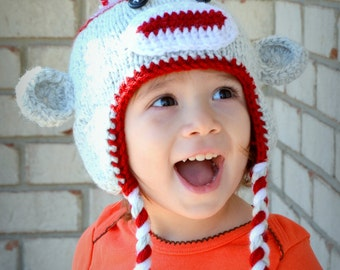 Newborn Sock Monkey Hat, Baby Sock Monkey Beanie, Little Monkey Hat, All Colors, All Sizes