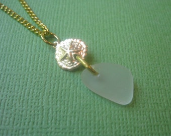 Genuine White Sea Glass and 14k Gold Sand Dollar Necklace