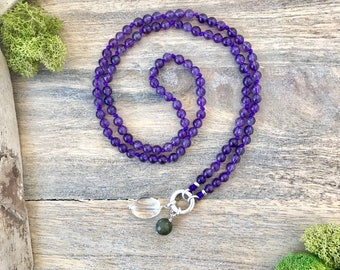 Amethyst Mala Beads Necklace with Sterling Clasp no Tassel, Amethyst 108 Knotted Mala Beads,Smaller Mala Meditation Beads,Amethyst Japa Mala