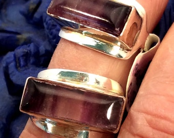 Size 6 Sterling Silver Ring, Fluorite Bar  free US ship