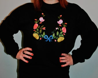 Handmade black sweatshirt with statement floral and bow embroidery applique design
