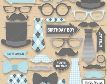 Printable Little Man Photo Booth Props Birthday Party Grey and Blue DIY INSTANT DOWNLOAD LMB01