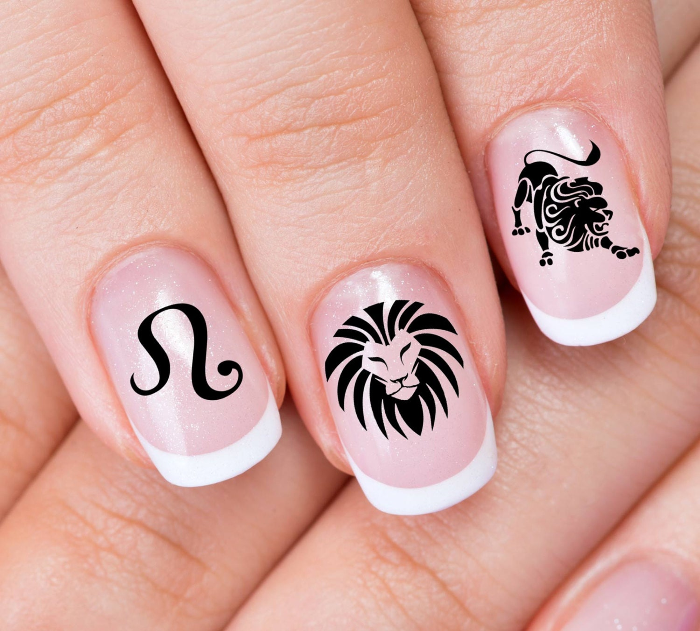 LEO Nail Art (ZLE) 30 ZODIAC Lion Astrology Symbols - Black ...