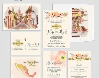 Destination wedding invitation Mexico San Miguel de Allende Traditional Spanish Mexican illustrated floral terracotta orange Deposit Payment