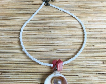 Pink Shell and Freshwater Pearl Anklet