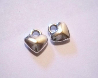 Heart Charms Bulk Charms Silver Heart Charms Antiqued Silver Charms Wholesale Charms Puff Heart Charms Miniature Charms 50pcs