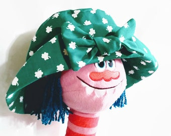 St. Patrick's Day Floppy Wide Brim Bucket Hat, Greenwith White Clovers Fabric Gingham Hat, Girls Saint Patrick's Day Bucket Hat with Big Bow