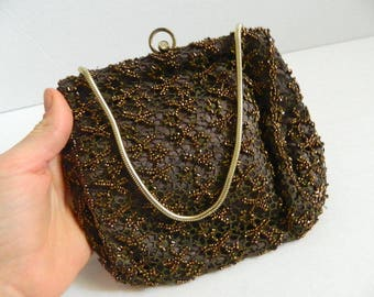 Antique Chocolate Brown Lace and Seed Bead Evening Bag Made with Rhinestone Clasp Made in Belgium