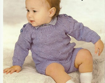 Baby Sweater and Shorts  Knitting Pattern