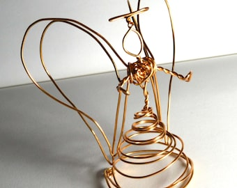 Quad Wing Golden Wire Angel -medium- aluminum - tree topper- angel with 4 wings