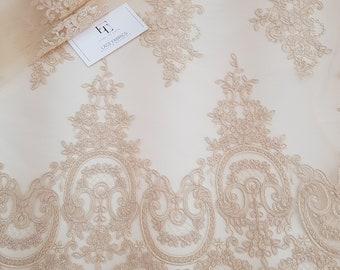 Cream lace fabric, Embroidered lace, French Lace, Wedding Lace, Bridal lace, Beige Lace, Veil lace, Lingerie Lace, Alencon Lace EVS157C