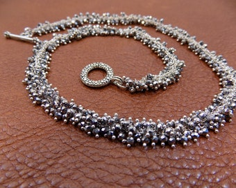 Sterling Silver Necklace Chain with Tiny Pyrite  Beads