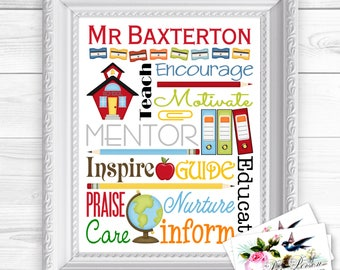 """Personalized / Custom Gift Teacher Appreciation, Principal, Administrator, Subway Style Wall Art Sign  8x10"""" Any Name in Brights or Pastels"""