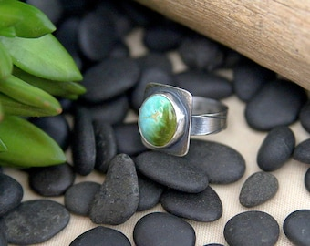 Turquoise Ring, Sterling Silver, handmade ring, natural turquoise, Roystone, one of a kind, square ring, gift for her, blue green stone