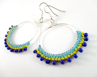 Turquoise Dazzling Hoops