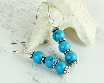 Turquoise Earrings.  Birthday Gifts For Her. Dainty Earrings. Gemstone Earrings. Jewelry. December Birthstone. 11th Wedding Anniversary