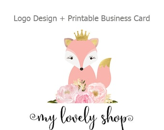Premade Logo Design, Fox and Watercolor Flower Logo, Small Business Logo, Printable Business Card