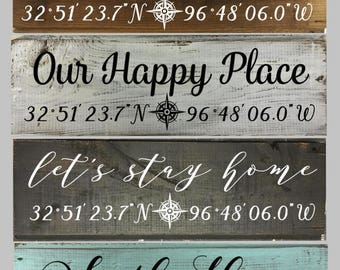 Home Coordinate Shiplap Signs CUSTOM GPS Longitude Latitude Sign