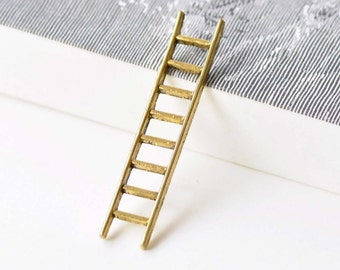 10 pcs of Antique Gold Ladder Pendant Charms 10x51mm A8606