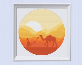 Modern Cross Stitch Pattern, Embroidery Pattern, Hoop Art Pattern, Beginner Embroidery, Diy Hoop Art,  Xstitch, Simple, Colorful, Desert