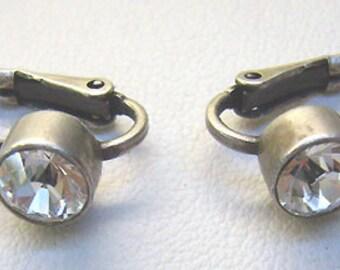 """Vintage Myka Clear Swarovski Crystal Earrings...Designer """"MYKA""""...White Metal....Euroback Hook Earrings"""