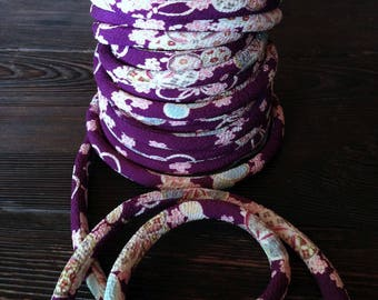cords Japanese 8mm, Chirimen, pattern cherry blossom, violet (C3002-8)
