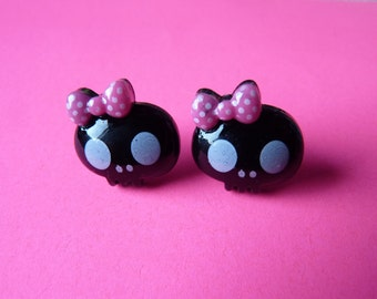 Cute Kawaii Gothic Black Skull Pink Bow Earrings - With Back Stoppers