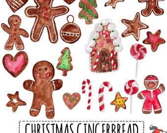 "Christmas clip art: ""GINGERBREAD COOKIES""  hand painted gingerbread cookies, various figures, 22 clipart 300 dpi PNG  files (5191)"