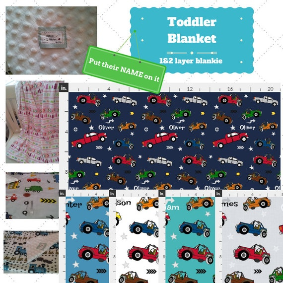 Personalized Blanket - Jeeps & Pickup Trucks- organic cotton, minky baby blanket, 24x32 Newborn, 32x50 Toddler Kids Blanket