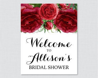 Red Roses Bridal Shower Welcome Sign Printable - Red and Green Floral Bridal Shower Customizable Sign - Winter, Christmas Shower Decor 0026