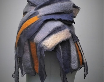 Grey and orange nuno felt scarf on silk chiffon.
