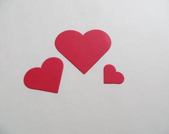 Red Paper Hearts, 30 Hearts, Set of Paper Hearts, Die Cut Hearts, Valentine Decor, Valentine Tags, Cardstock Hearts, Ships Fast