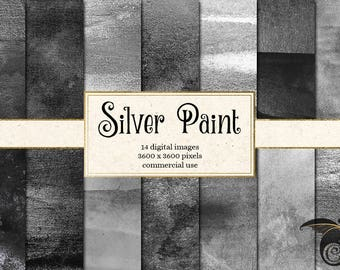 Silver Watercolor Paint digital paper, silver paint, silver watercolor black and white metallic paint textures, scrapbook paper download