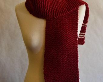Long dark currant red & White stripes // 100% rustic merino wool