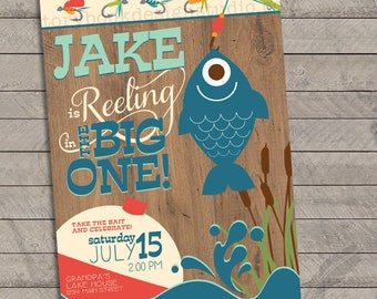 Fishing Birthday Party Invitations , fishing, lake, camping, reeling in, first, one, digital file, printable