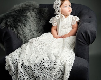 Lola Lace Baptism Gown, Girls Lace Christening Gowns, Baby Girl Baptismal & Blessing Gowns