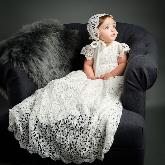 Lola Lace Baptism Gown Girls Lace Christening Gowns Baby