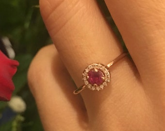 Ruby Engagement Ring Rose Gold, Diamond Ruby RIng,  Bridal Ruby Ring, Ruby Diamond Ring for women