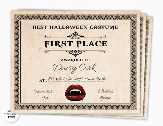 Halloween Award Halloween Costume Certificate 1st Place