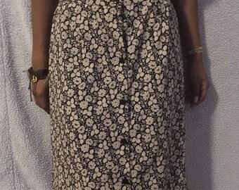 buttoned down flower pattern skirt