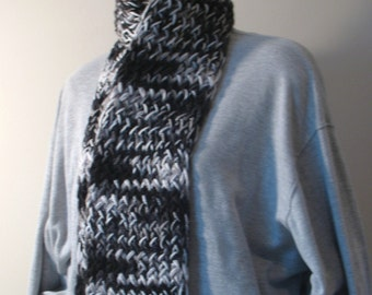 Winter scarf, handknit, black white gray item ZO9